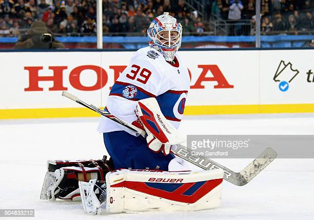 Goaltender Mike Condon of the Montreal Canadiens plays against the Boston Bruins during the 2016 Bridgestone NHL Classic at Gillette Stadium on...