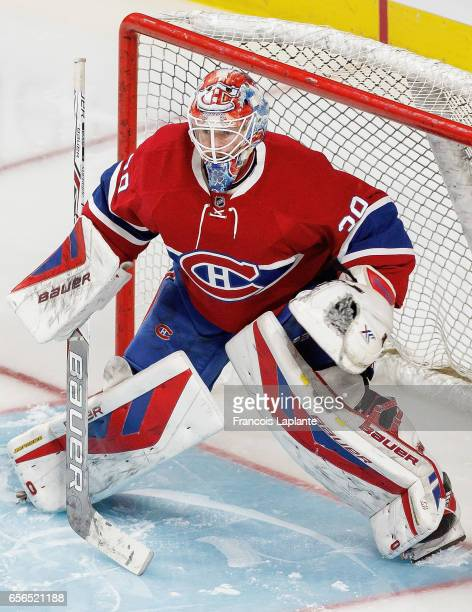 Goaltender Mike Condon of the Montreal Canadiens plays in the game against the Minnesota Wild at Bell Centre on March 12 2016 in Montreal Quebec...