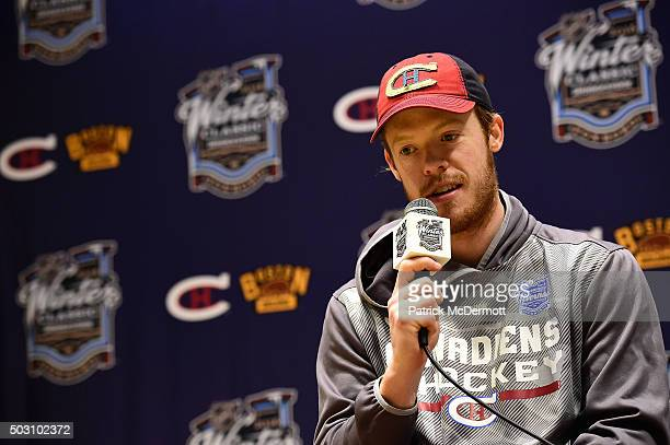 Goaltender Mike Condon of the Montreal Canadiens speaks to the media after their 2016 Bridgestone NHL Classic against the Boston Bruins at Gillette...