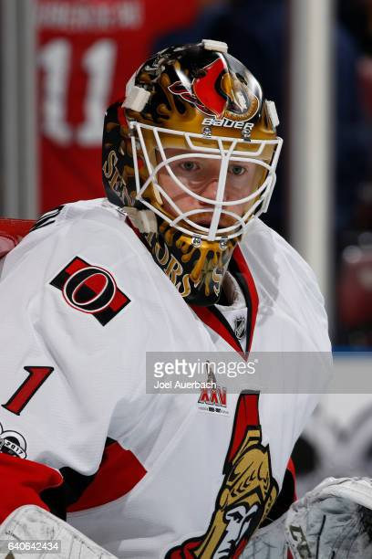 Goaltender Mike Condon of the Ottawa Senators looks towards the corner during first period action against the Florida Panthers at the BBT Center on...