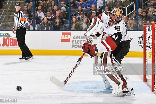 Goaltender Mike Smith of the Arizona Coyotes defends the net against the Columbus Blue Jackets on November 14 2015 at Nationwide Arena in Columbus...