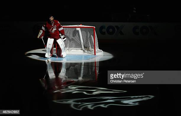 Goaltender Mike Smith of the Arizona Coyotes is introduced before the NHL game against the Detroit Red Wings at Gila River Arena on February 7 2015...