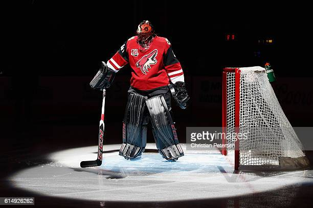 Goaltender Mike Smith of the Arizona Coyotes is introduced before the NHL game against Philadelphia Flyers at Gila River Arena on October 15 2016 in...