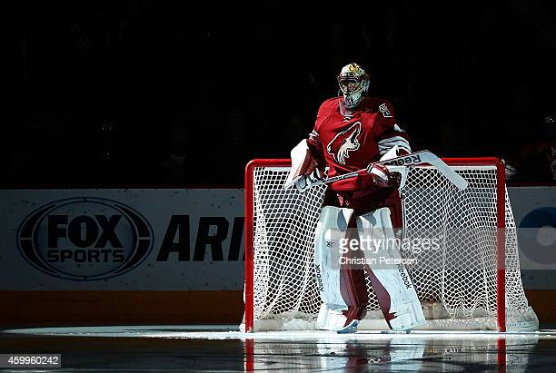 Goaltender Mike Smith of the Arizona Coyotes is introduced to the NHL game against the Los Angeles Kings at Gila River Arena on December 4 2014 in...