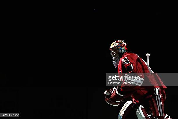 Goaltender Mike Smith of the Arizona Coyotes skates onto the ice before the NHL game against the Los Angeles Kings at Gila River Arena on December 4...