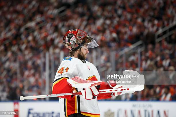 Goaltender Mike Smith of the Calgary Flames skates against the Edmonton Oilers at Rogers Place on October 4 2017 in Edmonton Canada