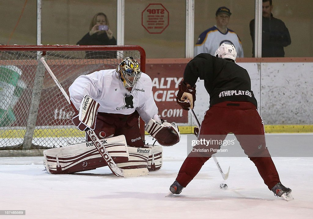 Goaltender Mike Smith #41 of the Phoenix Coyotes and <a gi-track='captionPersonalityLinkClicked' href=/galleries/search?phrase=Radim+Vrbata&family=editorial&specificpeople=204716 ng-click='$event.stopPropagation()'>Radim Vrbata</a> #17 of the Phoenix Coyotes participate in a workout at the Ice Den on December 3, 2012 in Scottsdale, Arizona. More than a dozen players from around the league that are not able to play during the NHL lockout have been attending workouts at the Phoenix Coyotes practice rink.