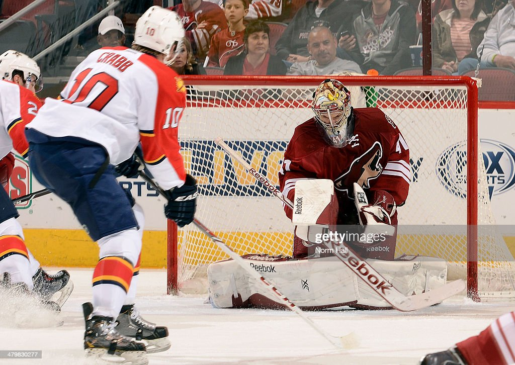 Goaltender Mike Smith of the Phoenix Coyotes makes a save as Joey Crabb of the Florida Panthers skates in during the second period at Jobingcom Arena...