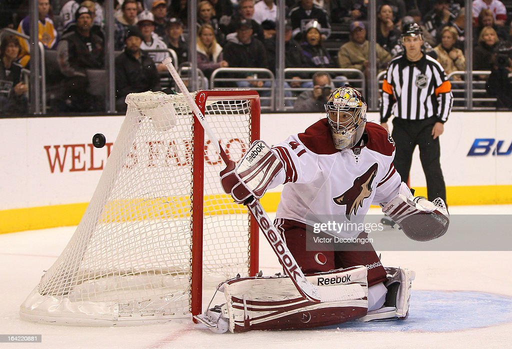 Goaltender Mike Smith #41 of the Phoenix Coyotes makes a save during the NHL game against the Los Angeles Kings at Staples Center on March 18, 2013 in Los Angeles, California. The Kings defeated the Coyotes 4-0.