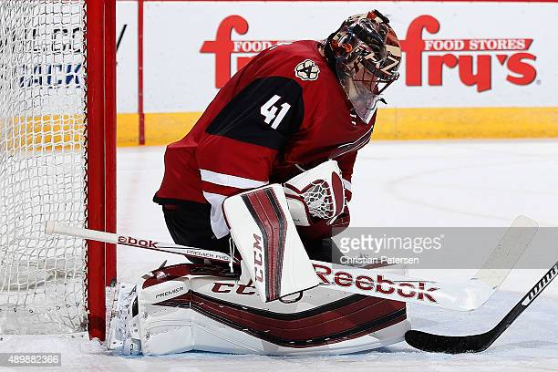 Goaltender Mike Smith of the Red team makes a save on the shot from the White team during the first period of the Arizona Coyotes scrimmage game at...