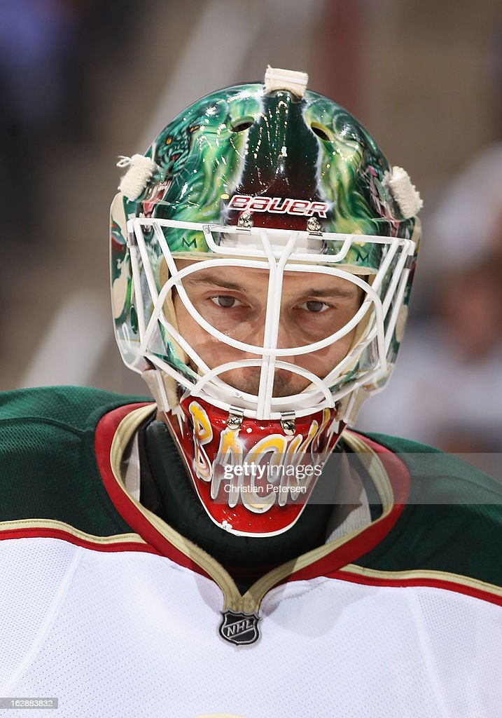 Goaltender Niklas Backstrom #32 of the Minnesota Wild skates during a break from the NHL game against the Phoenix Coyotes at Jobing.com Arena on February 28, 2013 in Glendale, Arizona. The Wild defeated the Coyotes 4-3.