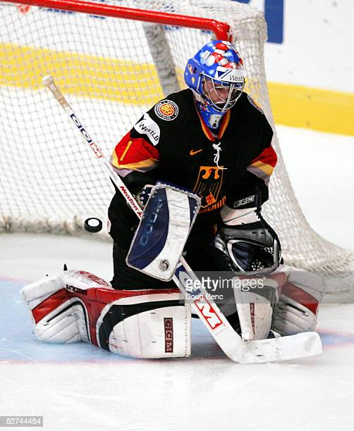 Goaltender Oliver Jonas of Germany makes a save against Kazakhstan in the IIHF World Men's Championships preliminary round group D game at Wiener...