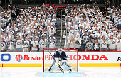 Goaltender Ondrej Pavelec of the Winnipeg Jets get set in the net prior to puck drop against the Anaheim Ducks for Game Three of the Western...