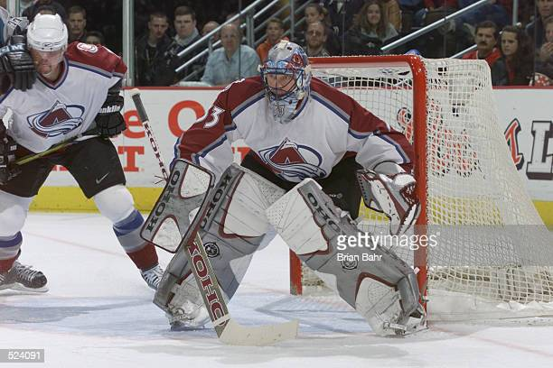 Goaltender Patrick Roy of the Colorado Avalanche protects the goal against of the San Jose Sharks during game two of the Stanley Cup playoffs at the...