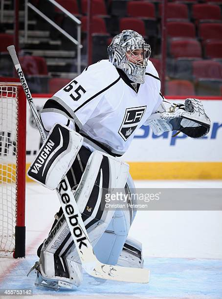 Goaltender Patrik Bartosak of the Los Angeles Kings during the NHL rookie camp game against the Arizona Coyotes at Gila River Arena on September 16...