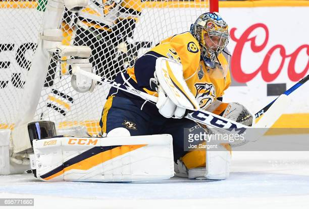 Goaltender Pekka Rinne of the Nashville Predators defends his net in the first period of Game Six of the 2017 NHL Stanley Cup Final at the...