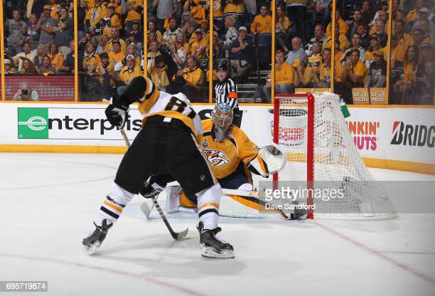 Goaltender Pekka Rinne of the Nashville Predators defends his net against Phil Kessel of the Pittsburgh Penguins in the second period of Game Six of...