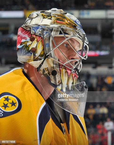 Goaltender Pekka Rinne of the Nashville Predators is seen before the game against the Chicago Blackhawks at Bridgestone Arena on December 6 2014 in...