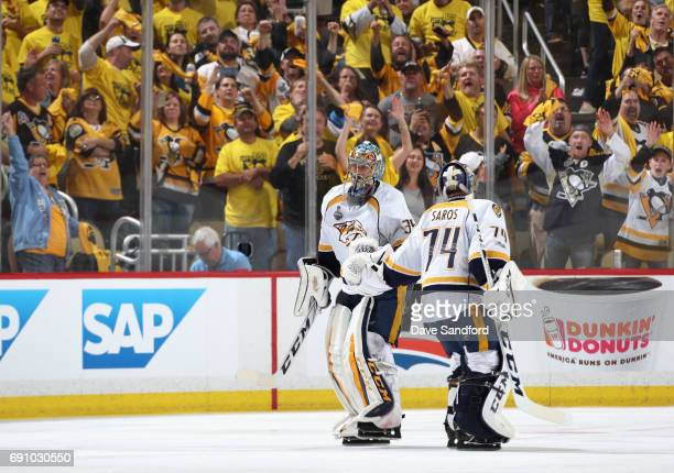 Goaltender Pekka Rinne of the Nashville Predators leaves the game and is replaced by Juuse Saros during the third period of Game Two of the 2017 NHL...