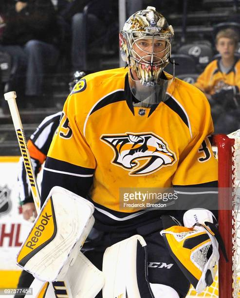 Goaltender Pekka Rinne of the Nashville Predators plays in the game against the Chicago Blackhawks at Bridgestone Arena on December 6 2014 in...