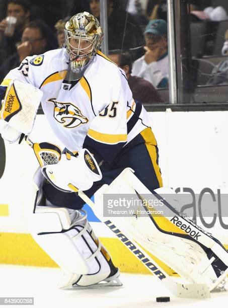Goaltender Pekka Rinne of the Nashville Predators plays in the game against the San Jose Sharks at SAP Center on March 12 2015 in San Jose California
