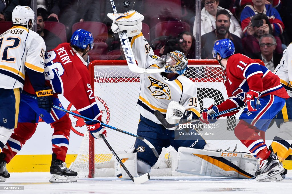 Goaltender Pekka Rinne #35 of the Nashville Predators stretches out the blocker to make a save during the NHL game against the Montreal Canadiens at the Bell Centre on March 2, 2017 in Montreal, Quebec, Canada. The Montreal Canadiens defeated the Nashville Predators 2-1.