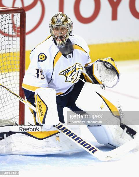 Goaltender Pekka Rinne of the Nashville Predators warms up before the game against the San Jose Sharks at SAP Center on March 12 2015 in San Jose...