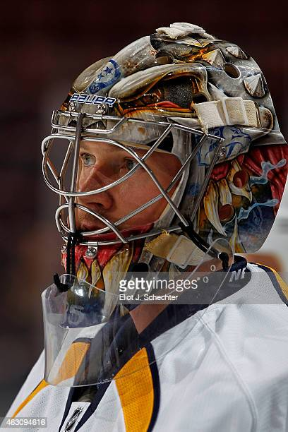 Goaltender Pekka Rinne of the Nashville Predators warms up on the ice prior to the start of the game against the Florida Panthers at the BBT Center...