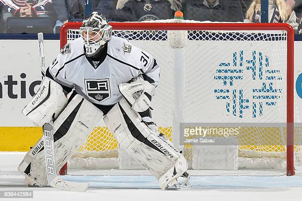 Goaltender Peter Budaj of the Los Angeles Kings defends the net against the Columbus Blue Jackets on December 20 2016 at Nationwide Arena in Columbus...