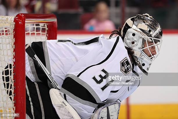 Goaltender Peter Budaj of the Los Angeles Kings looks down ice during the first period of the preseason NHL game against the Arizona Coyotes at Gila...