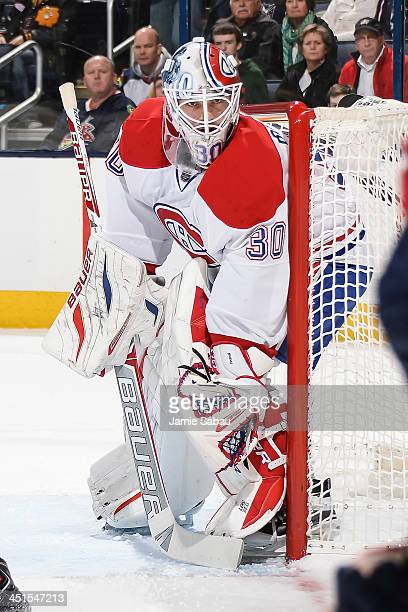 Goaltender Peter Budaj of the Montreal Canadiens defends the net against the Columbus Blue Jackets on November 15 2013 at Nationwide Arena in...