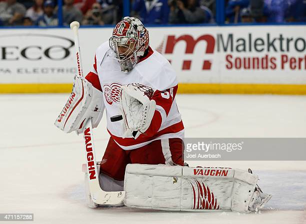 Goaltender Petr Mrazek of the Detroit Red Wings defends the net against the Tampa Bay Lightning during the second period in Game Five of the Eastern...