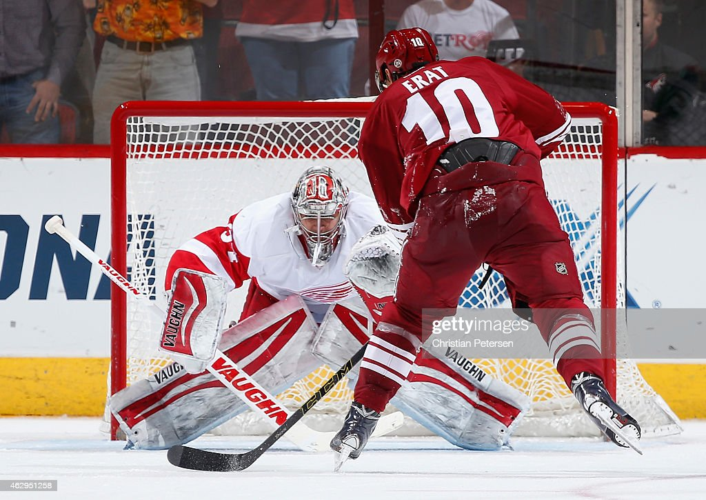 Goaltender Petr Mrazek #34 of the Detroit Red Wings stops a penalty shot from Martin Erat #10 of the Arizona Coyotes during the third period of the NHL game at Gila River Arena on February 7, 2015 in Glendale, Arizona. The Red Wings defeated the Coyotes 3-1.