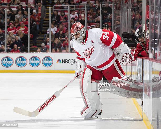 Goaltender Petr Mrazek of the Detroit Red Wings takes the ice replacing teammate Jared Coreau during the first period an NHL game against the Boston...