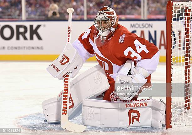 Goaltender Petr Mrazek of the Detroit Red Wings tends the net against the Colorado Avalanche during the 2016 Coors Light Stadium Series game at Coors...