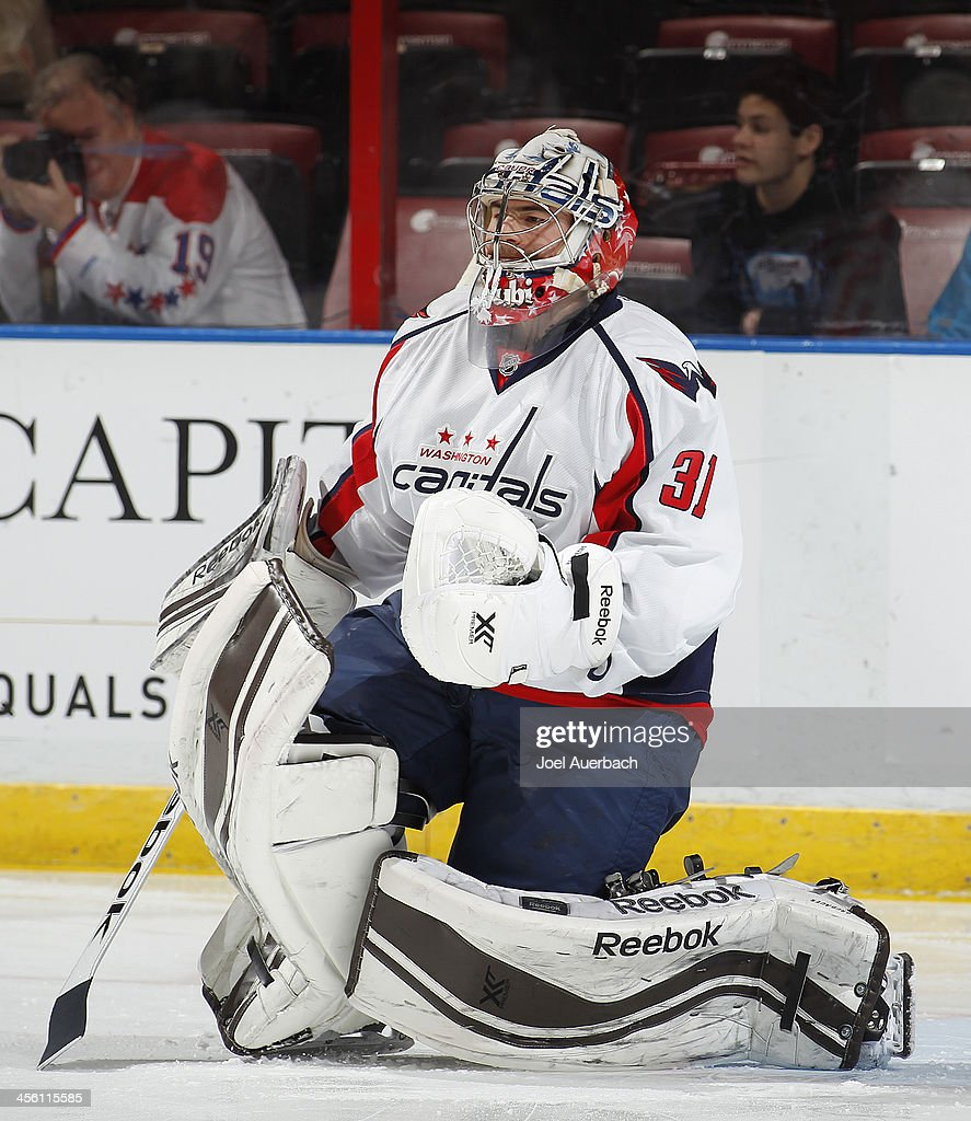 Goaltender Phillip Grubauer #31 of the Washington Capitals warms up prior to the game against the Florida Panthers at the BB&T Center on December 13, 2013 in Sunrise, Florida.