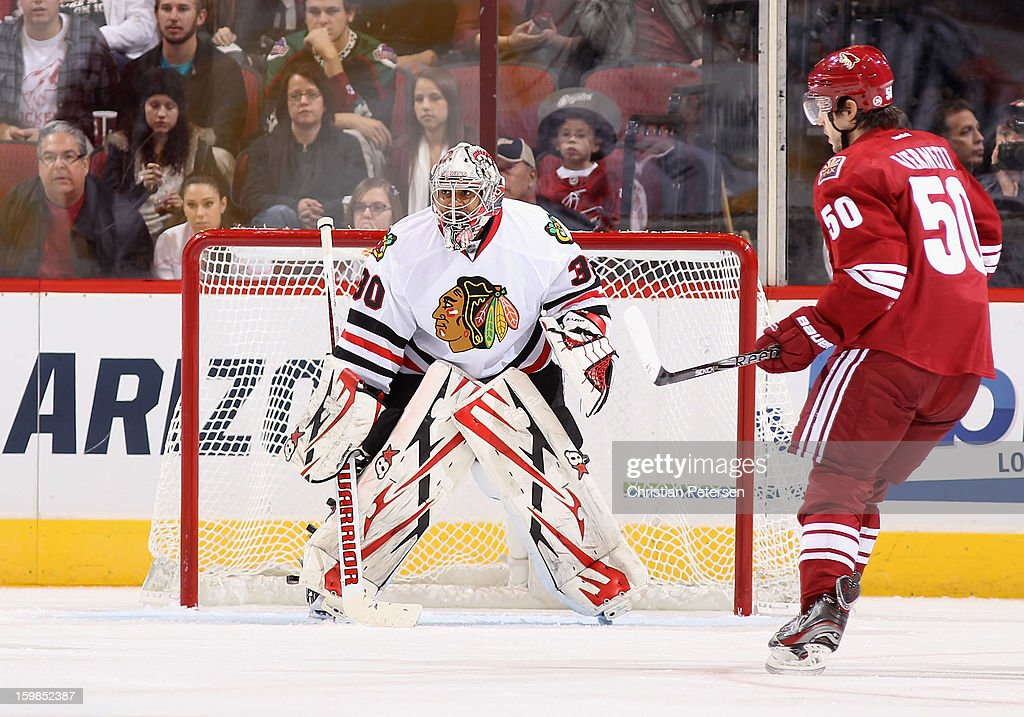 Goaltender Ray Emery #30 of the Chicago Blackhawks in action during the NHL game against the Phoenix Coyotes at Jobing.com Arena on January 20, 2013 in Glendale, Arizona. The Blackhawks defeated the Coyotes 6-4.