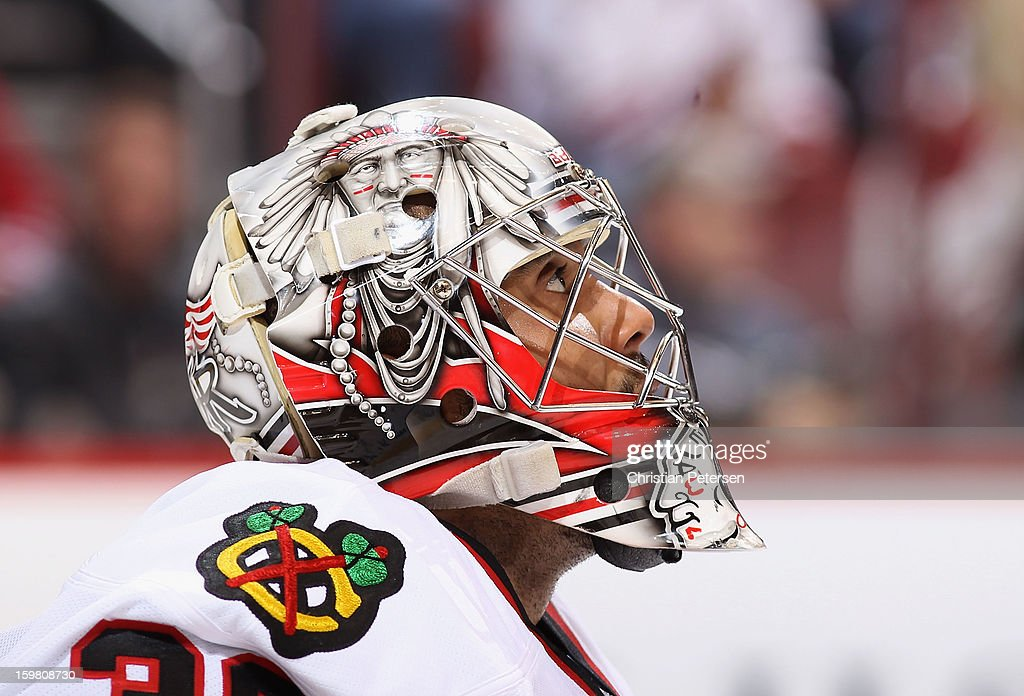 Goaltender <a gi-track='captionPersonalityLinkClicked' href=/galleries/search?phrase=Ray+Emery&family=editorial&specificpeople=218109 ng-click='$event.stopPropagation()'>Ray Emery</a> #30 of the Chicago Blackhawks looks up to the video board during the NHL game against the Phoenix Coyotes at Jobing.com Arena on January 20, 2013 in Glendale, Arizona. The Blackhawks defeated the Coyotes 6-4.