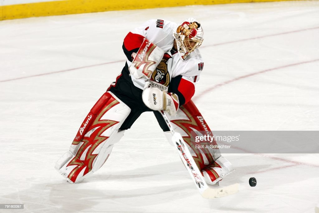 Goaltender Ray Emery #1 of the Ottawa Senators clears the puck against the Florida Panthers at the Bank Atlantic Center on January 22, 2008 in Sunrise, Florida.