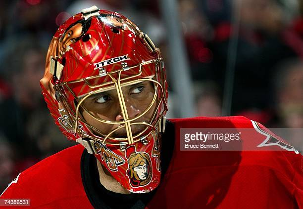 Goaltender Ray Emery of the Ottawa Senators looks on during play in Game Three of the 2007 Stanley Cup finals against the Anaheim Ducks on June 2...