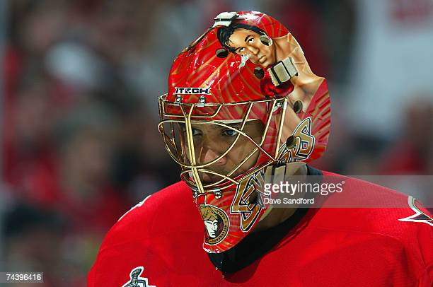 Goaltender Ray Emery of the Ottawa Senators skates during a break from the third periof of Game Four of the 2007 Stanley Cup finals against the...