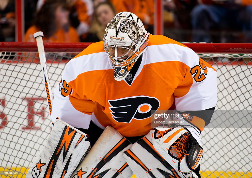 Goaltender <a gi-track='captionPersonalityLinkClicked' href=/galleries/search?phrase=Ray+Emery&family=editorial&specificpeople=218109 ng-click='$event.stopPropagation()'>Ray Emery</a> #29 of the Philadelphia Flyers is seen at the Shot on Goal vs. Flyers Goaltender fan activity during the welcoming of celebrity co-chair David Boreanaz to the 37th Flyers Wives Carnival at Wells Fargo Center on January 26, 2014 in Philadelphia, Pennsylvania.
