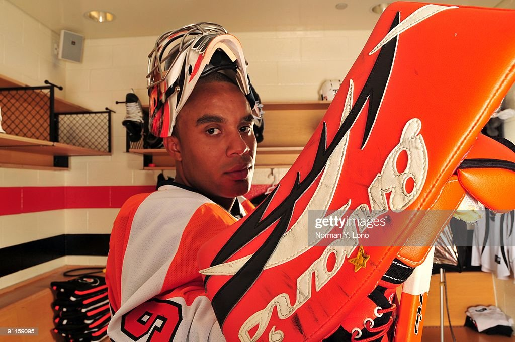 Goaltender <a gi-track='captionPersonalityLinkClicked' href=/galleries/search?phrase=Ray+Emery&family=editorial&specificpeople=218109 ng-click='$event.stopPropagation()'>Ray Emery</a> of the Philadelphia Flyers poses for a portrait in the locker room at the Virtua Center Flyers Skate Zone training facility on August 26, 2009 in Voorhees, New Jersey.
