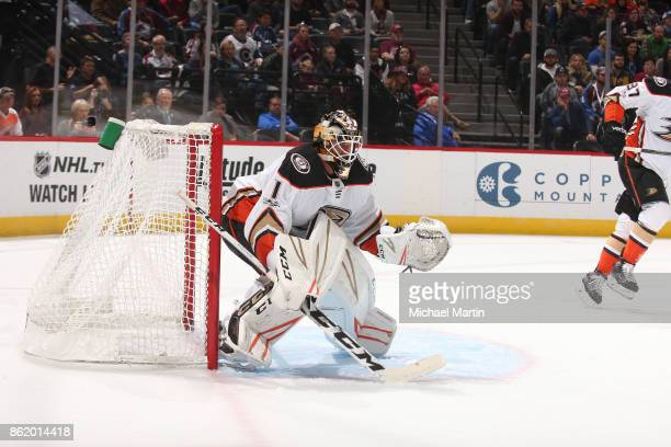 Goaltender Reto Berra of the Anaheim Ducks stands ready against the Colorado Avalanche at the Pepsi Center on October 13 2017 in Denver Colorado The...