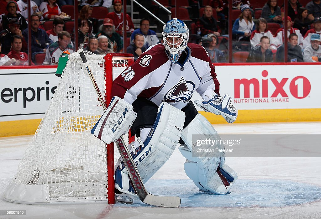 Goaltender Reto Berra of the Colorado Avalanche in action during the NHL game against the Arizona Coyotes at Gila River Arena on November 25 2014 in...