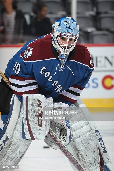 Goaltender Reto Berra of the Colorado Avalanche skates prior to the game against the Nashville Predators at the Pepsi Center on January 30 2015 in...