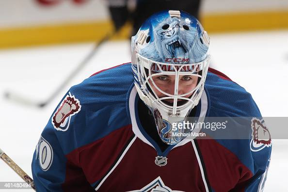 Goaltender Reto Berra of the Colorado Avalanche smiles prior to the game against the Dallas Stars at the Pepsi Center on January 10 2015 in Denver...