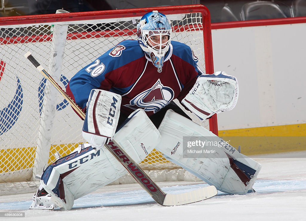Goaltender Reto Berra of the Colorado Avalanche warms up prior to the game against the Washington Capitals at the Pepsi Center on November 20 2014 in...