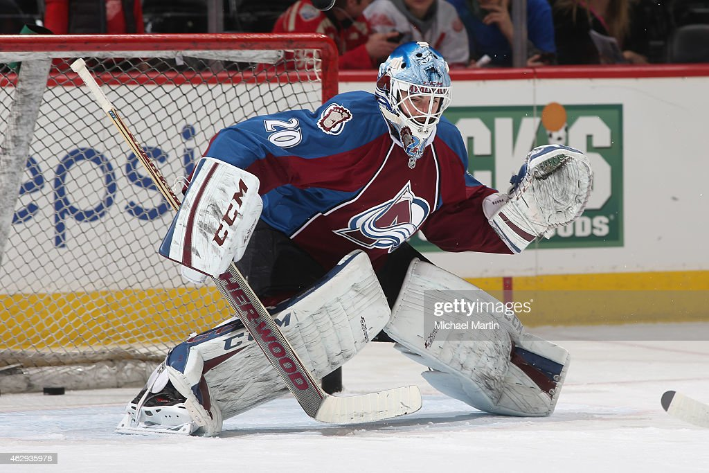 Goaltender Reto Berra of the Colorado Avalanche warms up prior to the game against the Detroit Red Wings at the Pepsi Center on February 5 2015 in...