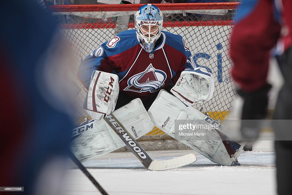 Goaltender Reto Berra of the Colorado Avalanche warms up prior to the game against the Calgary Flames at the Pepsi Center on March 14 2015 in Denver...